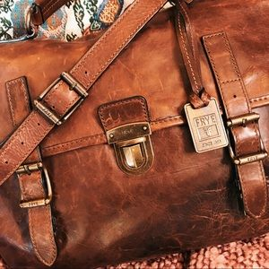 Frye Logan top handle briefcase front & back slots